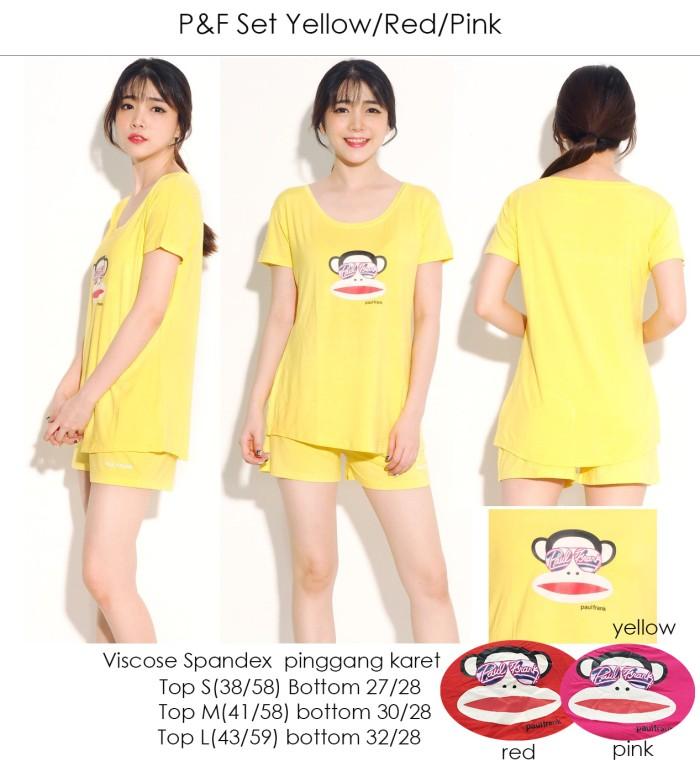 harga Mys baju branded setelan kaos paul & frank p&f set yellow/pink/red Tokopedia.com