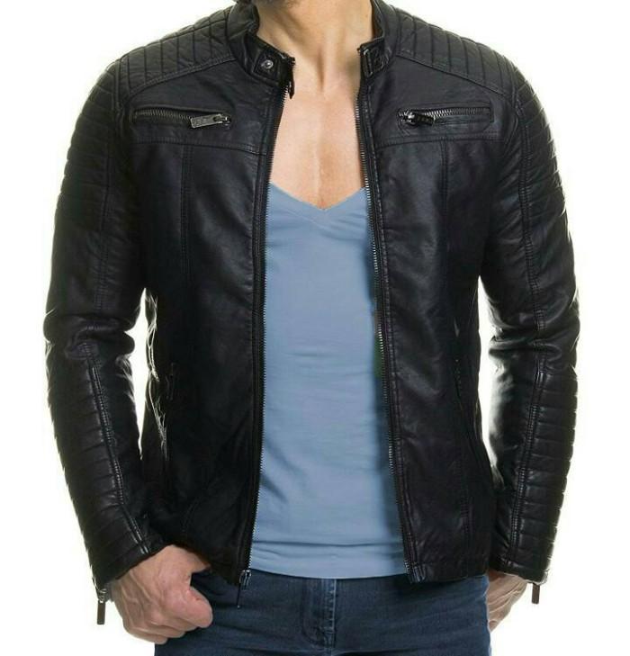 Jaket semi kulit / pu leather / jaket sintetis men fashion bikers
