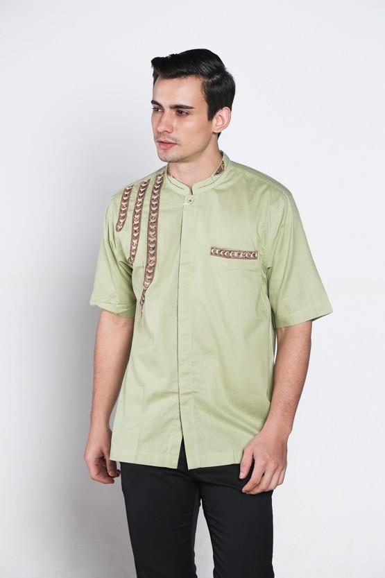 ... harga Baju koko batik busana muslim pria kualitas premium tn 36 hijau  muda Tokopedia.com 62416a10c2