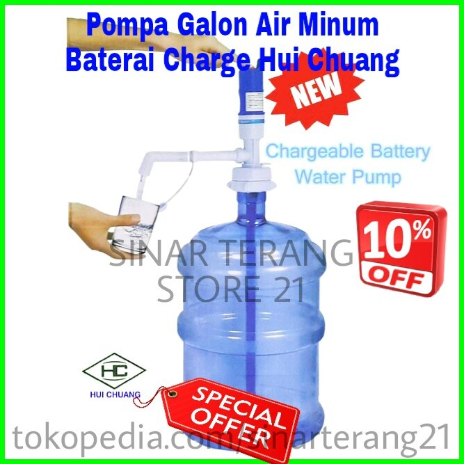 harga Pompa galon baterai charge water pump  air minum otomatis aqua  hl10a Tokopedia.com