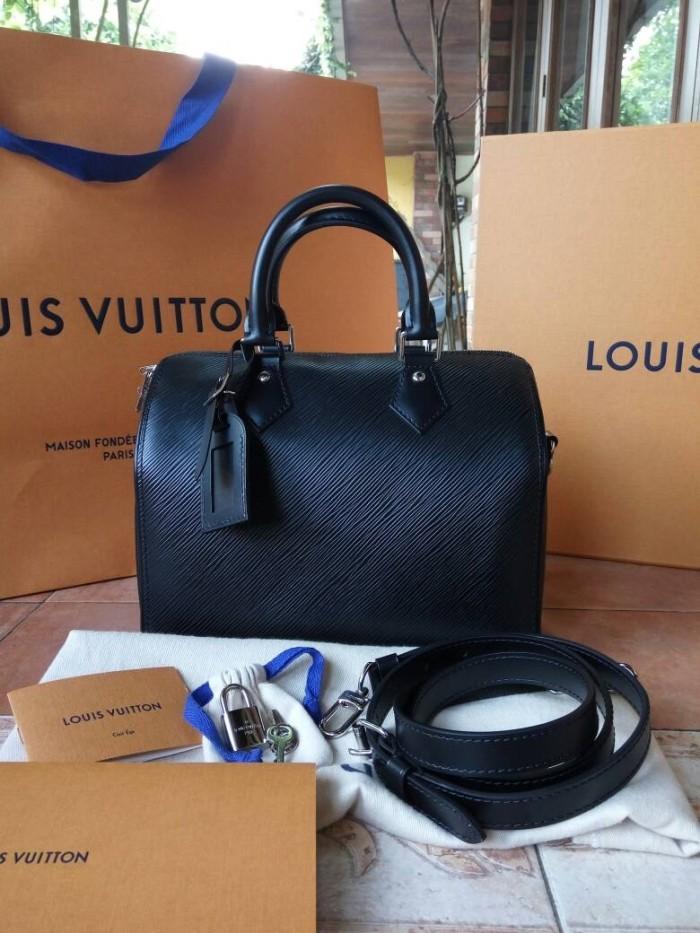 Tas LV Louis Vuitton Speedy Bandouliere 25 Noir Epi Asli Ori Authentic 14a92ec48f