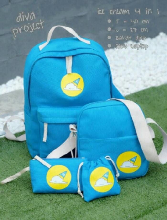 Foto Produk tas sekolah wanita murah backpack es krim 4in1 grosir turun harga dari Then4Shop