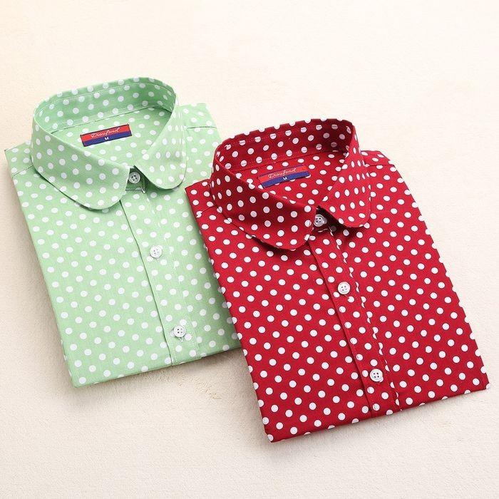 New Brand Polka Dot Shirt Women Long Sleeve Blouse Cotton Plus Size La