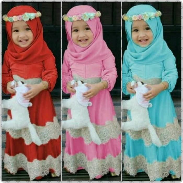 harga Gamis anak | baju muslim anak perempuan | kid tintin Tokopedia.com