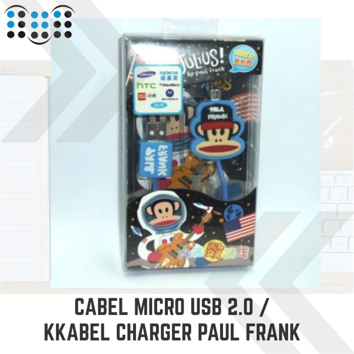 harga Cabel micro usb 2.0 / kabel charger julius by paul frank - blue Tokopedia.com