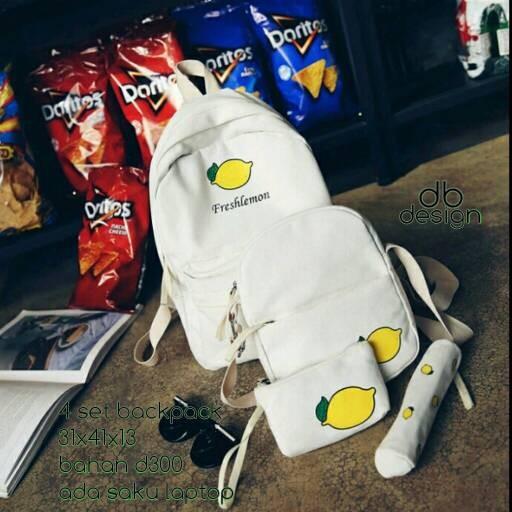 Foto Produk tas sekolah wanita murah backpack buah 4in1 grosir turun harga dari Then4Shop