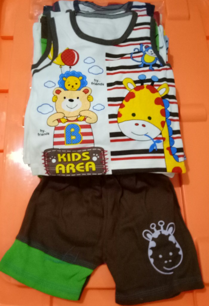 Stelan Baju Singlet Kutung Bayi Anak karakter Kids Area