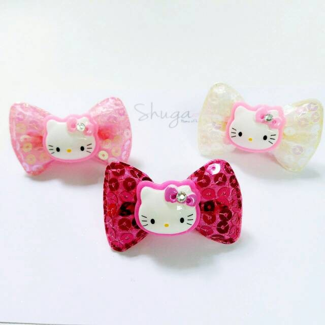 Jepitan Rambut Anak Hairclip Pita Sequin Hello Kitty Hk