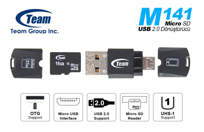 Jual Team M141 OTG Micro SD Card Reader