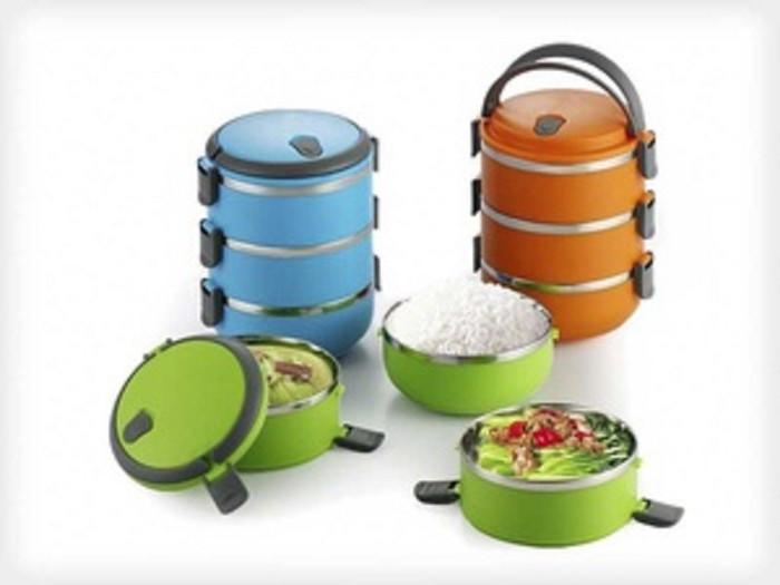 Rantang stainless 3 susun / steel lunch box tiga susun ...