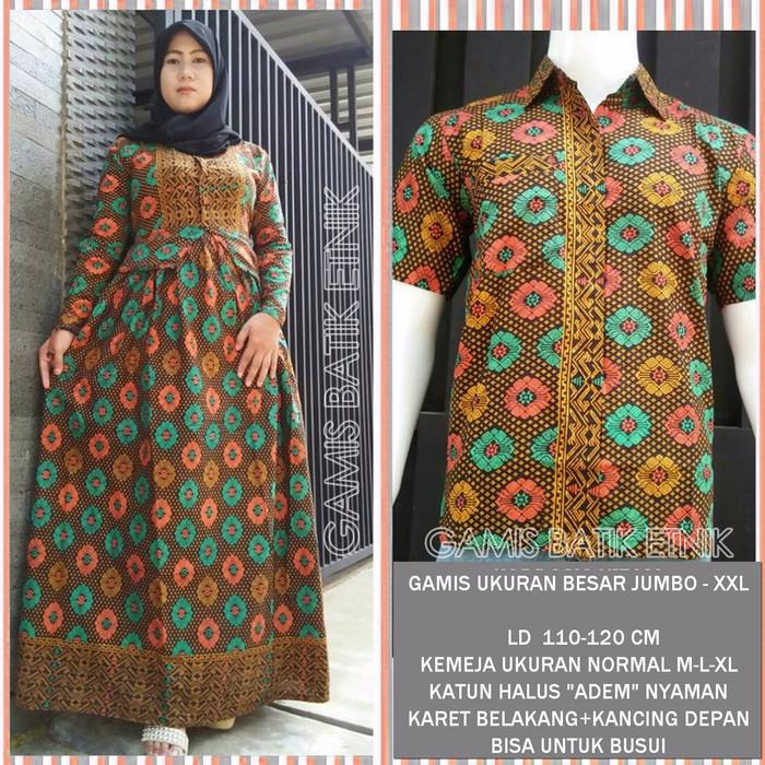 Jual Gamis Batik Qw20 Coklat Sarimbit Couple Baju Xxl Jumbo Besar