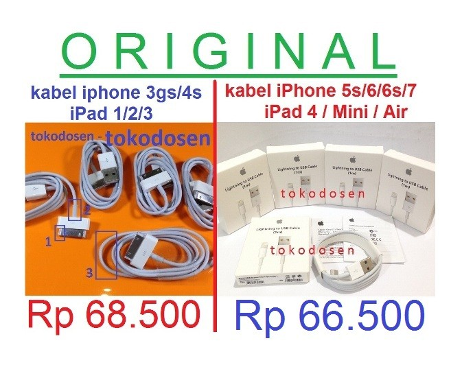 harga Ori apple kabel charger data ipad 1 2 3 itouch 4 ipod classic usb 4s Tokopedia.com