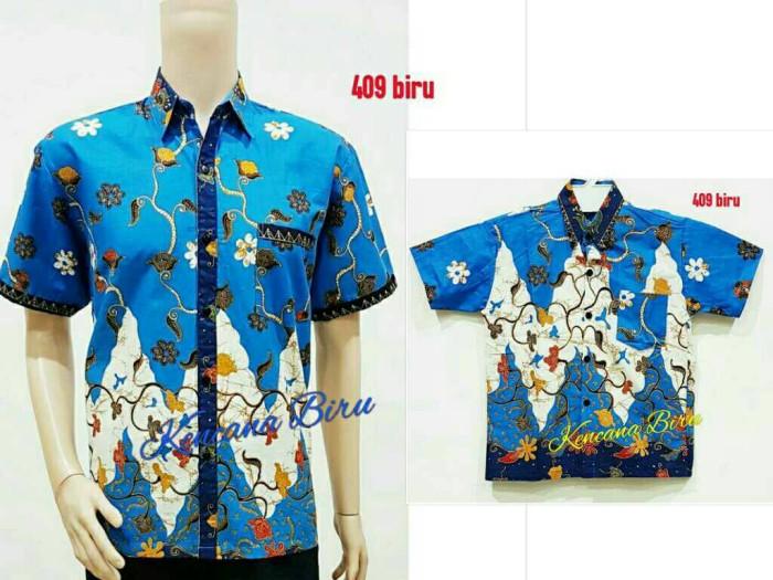 harga 409 biru couple kemeja batik /anak 2 ~4 thn /dewasa m~xl/seragam Tokopedia.com