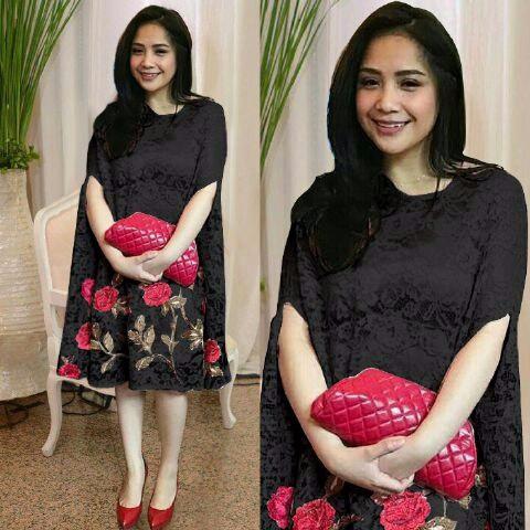 Jual Promo Model Baju Dress Terbaru tk kaftan brukat nagita black ... 13ee48f4b7