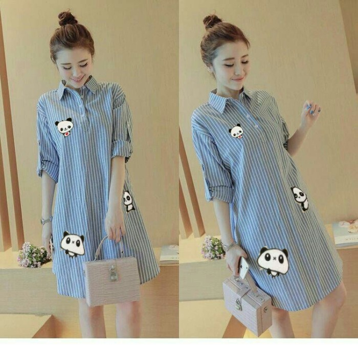 harga Stripe panda blue [dress 0122] Tokopedia.com