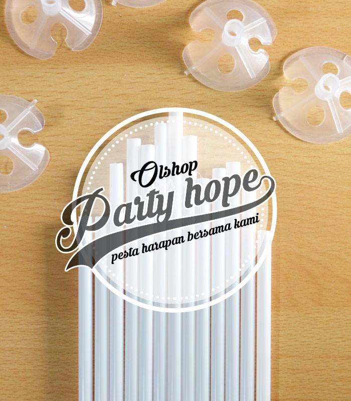 Foto Produk Tangkai balon / gagang balon latex / stik balon latex/ pegangan balon - Putih dari PARTY HOPE 2