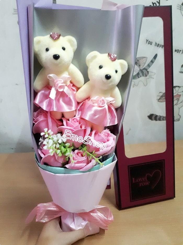 Jual Buket 5 Bunga Mawar Sabun + Boneka Beruang Couple 9e00b2a695