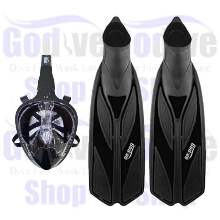 Alat Selam Godive Full Face Mask MF003-Black+Fin Full Heel FS-04-Black
