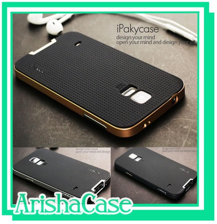 harga 100% original case ipaky samsung s5 i9500 soft carbon + bumper frame Tokopedia.com