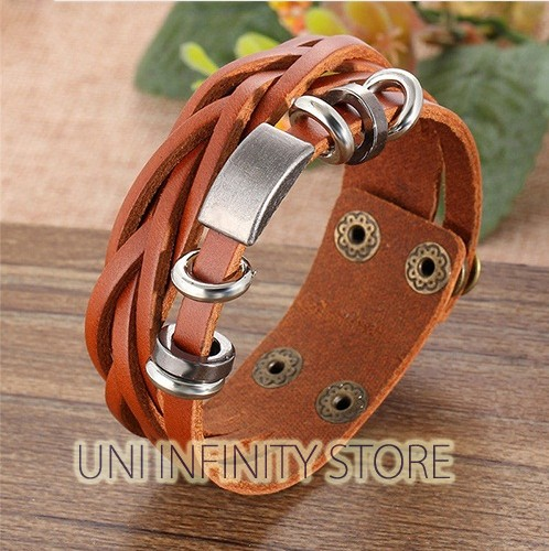 harga Jwwb0011 gelang kulit punk combination brown braided strap metal plate Tokopedia.com