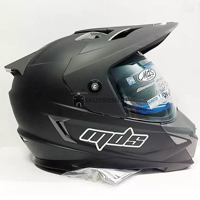harga Helm full face mds super pro supermoto double visor hitam dof Tokopedia.com
