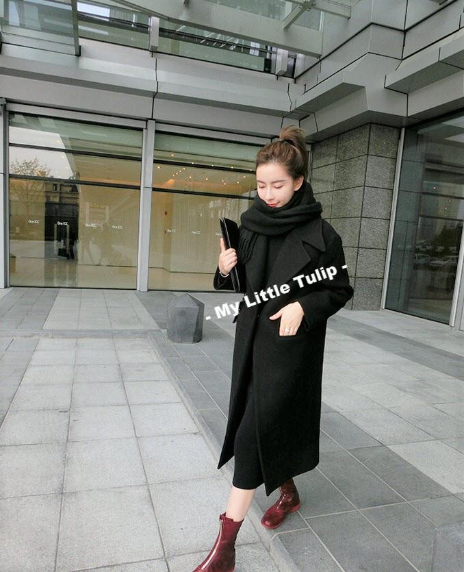 harga Coat winter syal hitam tebal musim dingin simple elegan keren unisex Tokopedia.com