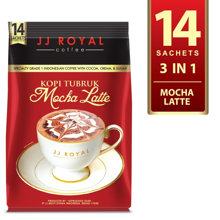 Coffee/kopi jj royal kopi tubruk mocha latte bulk bag 14 sachets