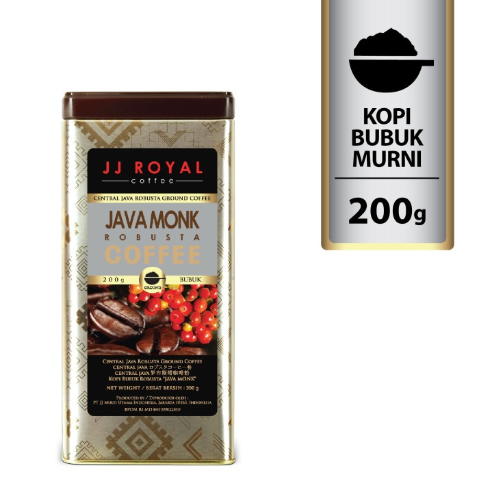 Coffee/kopi jj royal java monk robusta ground tin 200g