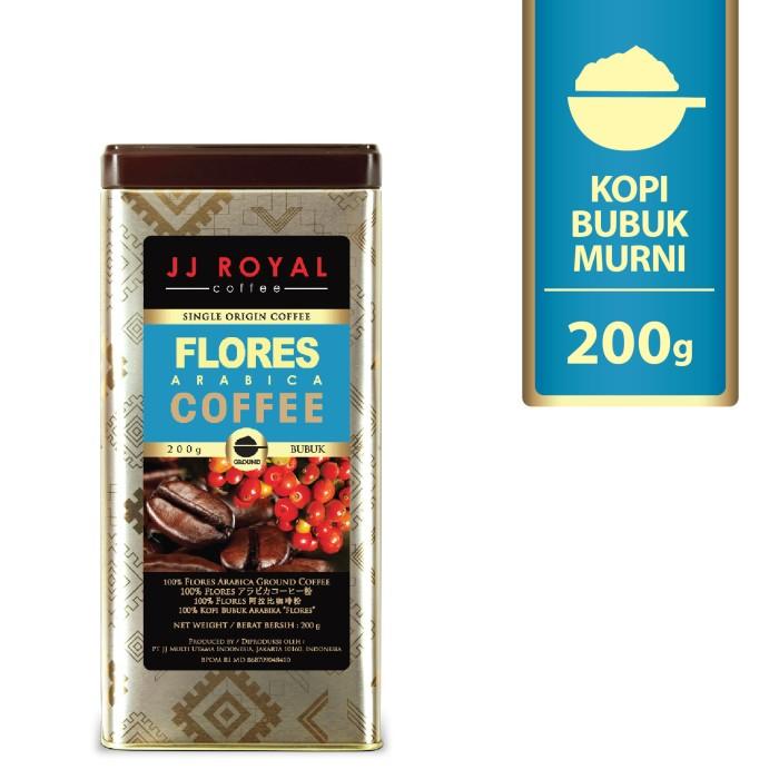 Jj royal coffee flores arabica ground (kopi bubuk) tin 200g