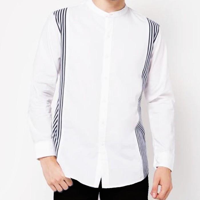 Vm kemeja baju koko muslim panjang slimfit putih - koko 05