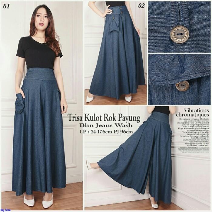 harga Trisa kulot rok payung-celana kulot jeans jumbo-celana panjang-sb Tokopedia.com