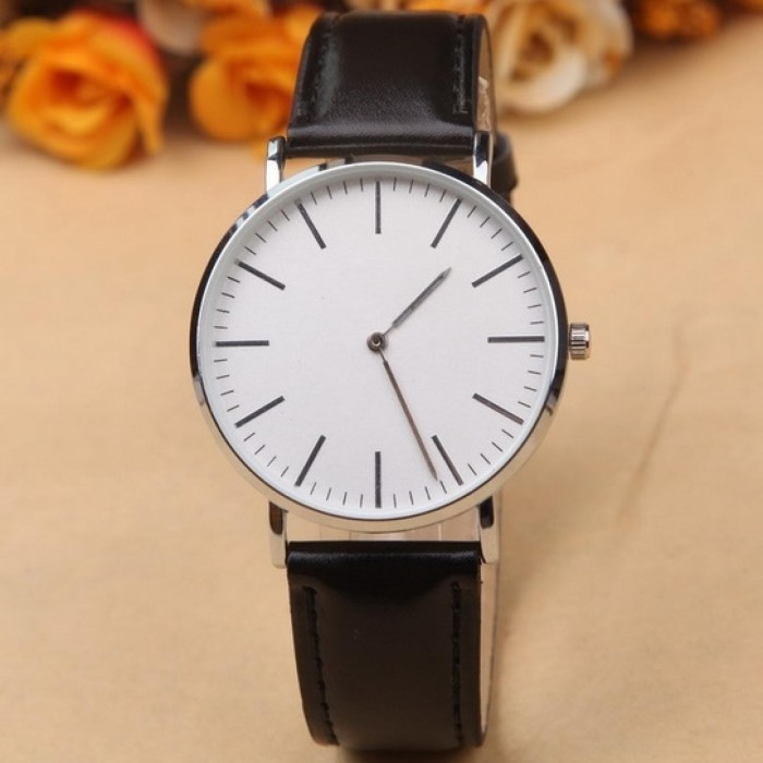 harga Jam tangan kulit fashion casual polos unisex hitam Tokopedia.com