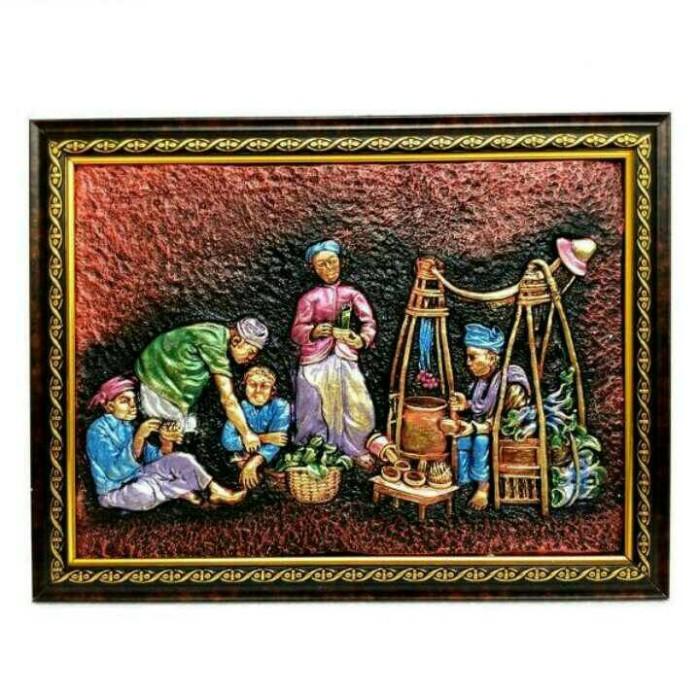 harga Termurah lukisan timbul 3d relief penjual dawet dekorasi rumah murah Tokopedia.com
