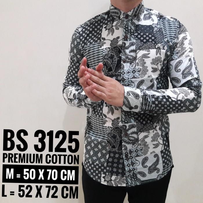 Batik Pria Casual: Jual 3125 KEMEJA BATIK LENGAN PANJANG PRIA COWOK HITAM