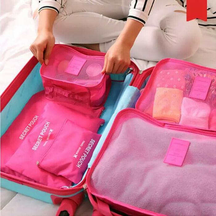 Bags in Bag / Organizer Travelling Bags 6 In 1 - Merah Muda