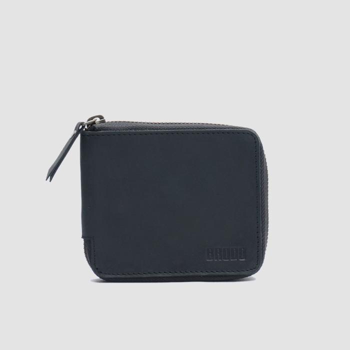 Brodo - dompet pria zipper wallet black