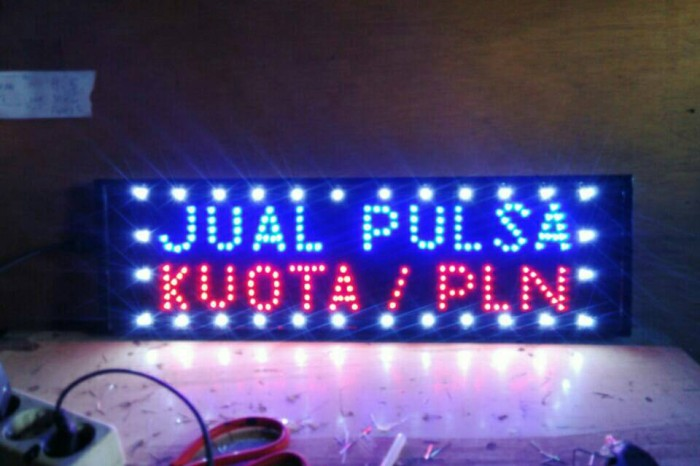 Led Sign / Tulisan Lampu Led Jual Pulsa Kuota Pln