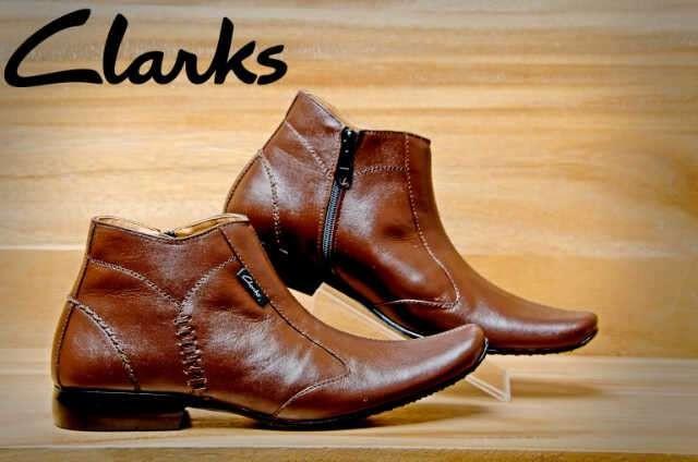 Sepatu formal boots pria pantofel clarks resleting kulit asli coklat 0645532073