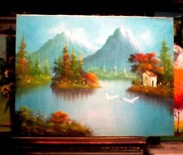 harga Lukisan burung bangau 80x60 feng shui umur panjang, kemuliaan & peace Tokopedia.com