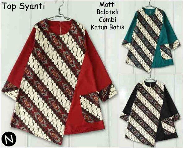 58202 tunik batik blouse muslim kemeja bigsize baju jumbo batik coup