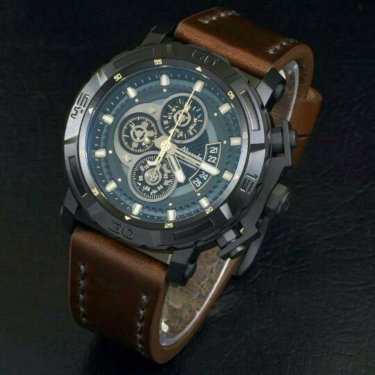 Jam Tangan Pria Alexandre Christie AC-6439 Original Black Brown