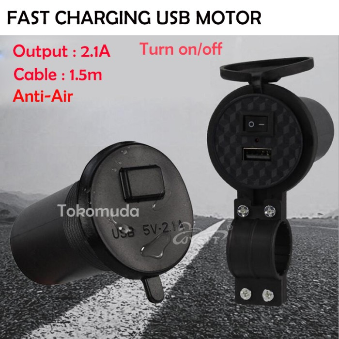 harga Usb phone charger waterproof 5v 2.1a motor lighter on/off Tokopedia.com