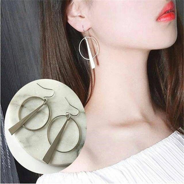 Anting circle long line | aksesoris import lucu unik murah