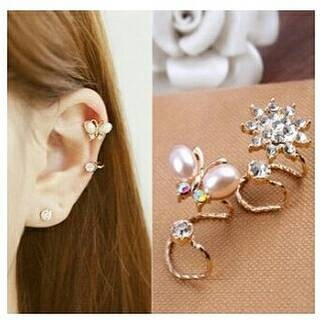 Ear clip gold double + anting | anting jepit | aksesoris import murah