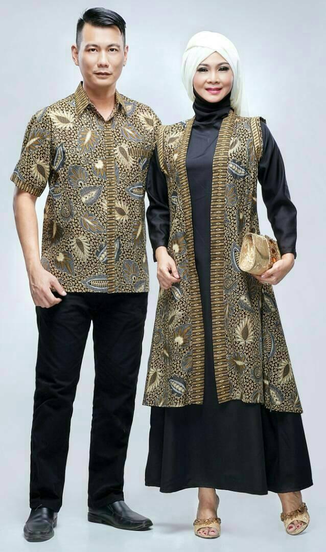 Jual Batik Sarimbit Gamis Batik Couple Modern Gamis Rompi Maudy