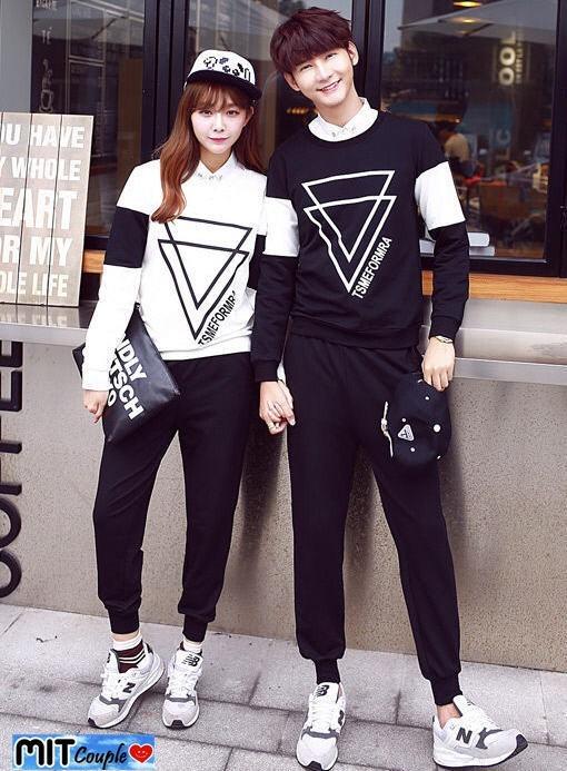 kaos couple double triangle lengan panjang - baju pasangan