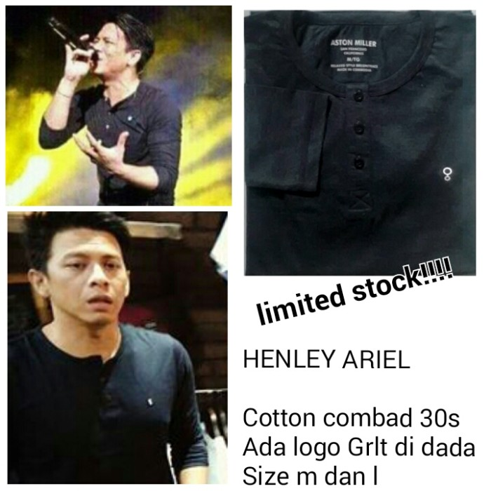 Henley Ariel Noah Hitam T-shirt GRLT Ariel / Kaos Baju Greenlight
