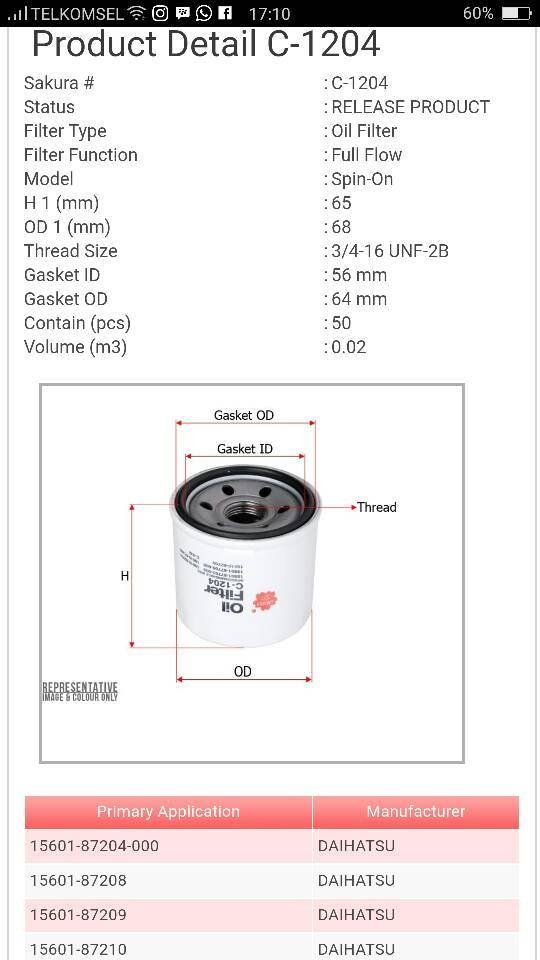 harga Filter oli daihatsu charade '88 15601-87703 c-1204 sakura   14996 Tokopedia.com