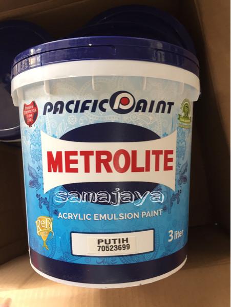 harga Cat metrolite galon 3 ltr. cat tembok putih kebiruan. kualitas bagus Tokopedia.com