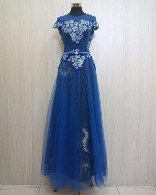 Jual Long Dress Baju Pesta Modern Satin Kombinasi Tile Baju Wanita